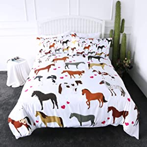 ARIGHTEX Horse Bedding Kids Girls Pretty Ponies Duvet Cover 3 Pieces Cartoon Farm Animals Red Heart Bed Set (Twin)