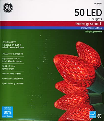 GE LED String Lights - Red