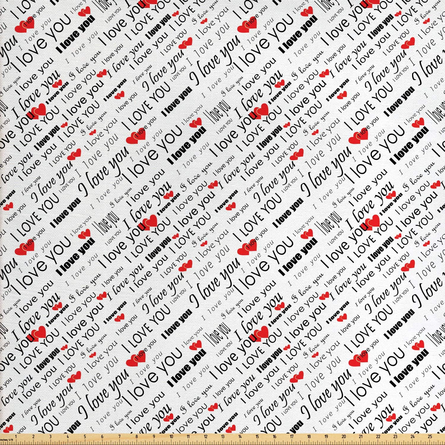 Ambesonne I Love You Fabric by The Yard, Romance Words with Hearts in Different Characters Flirt Celebration Pattern, Decorative Fabric for Upholstery and Home Accents, 1 Yard, Red Black