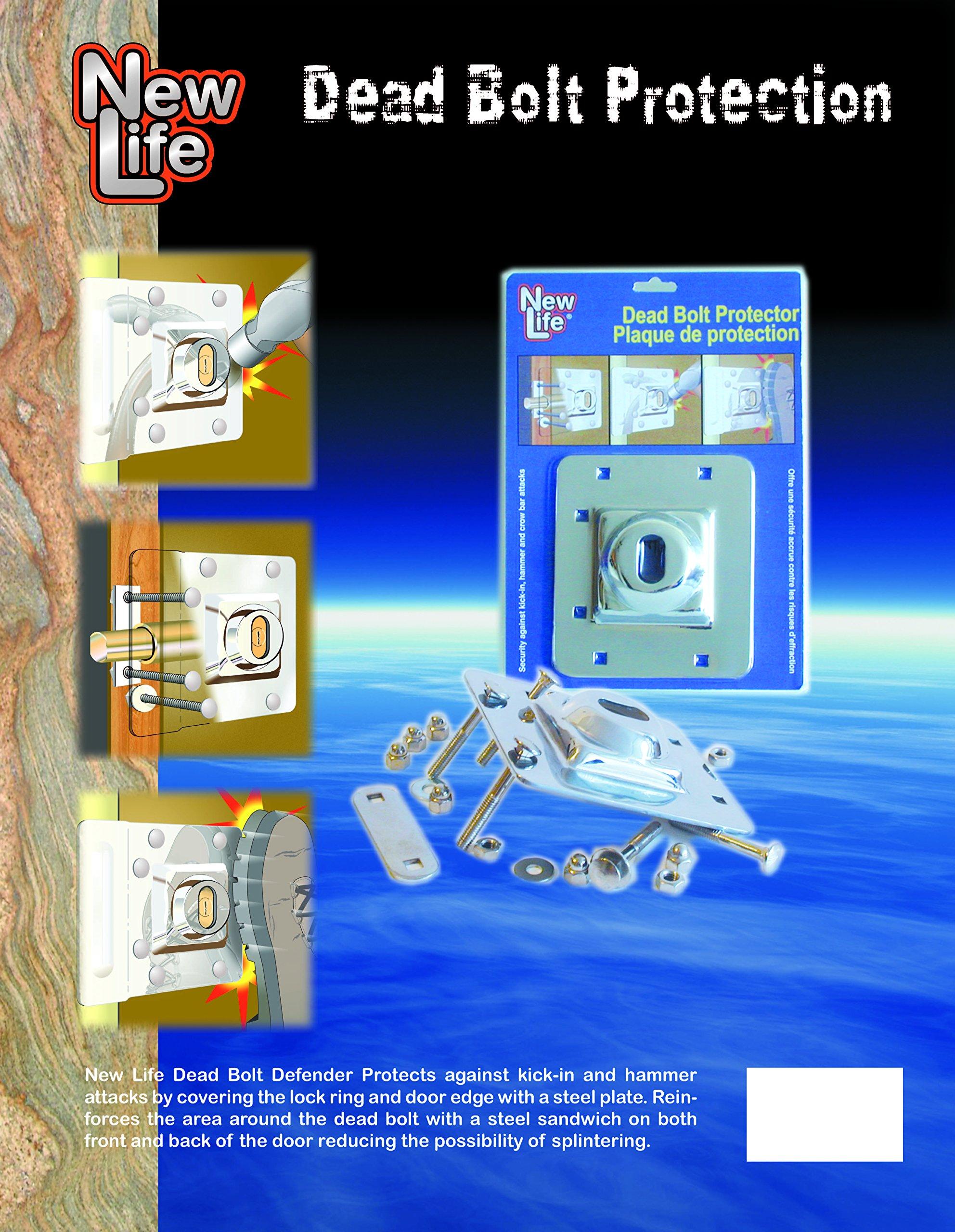 New Life Products 37-652IS Door Deadbolt Defender, Latch Guard, Door Reinforcer 5 IN X 5.8 IN Inswing, Protects Inswinging door from forced entry, Replacement For Prime-Line Door Reinforcer U9496