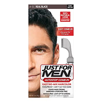 Amazon.com : Just For Men AutoStop Men\'s Comb-In Hair Color, Real ...