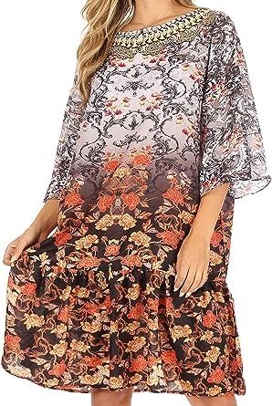 Femmes Imprimé Floral Caftan Robe Mi-Longue Ample Décontracté Manches Longues