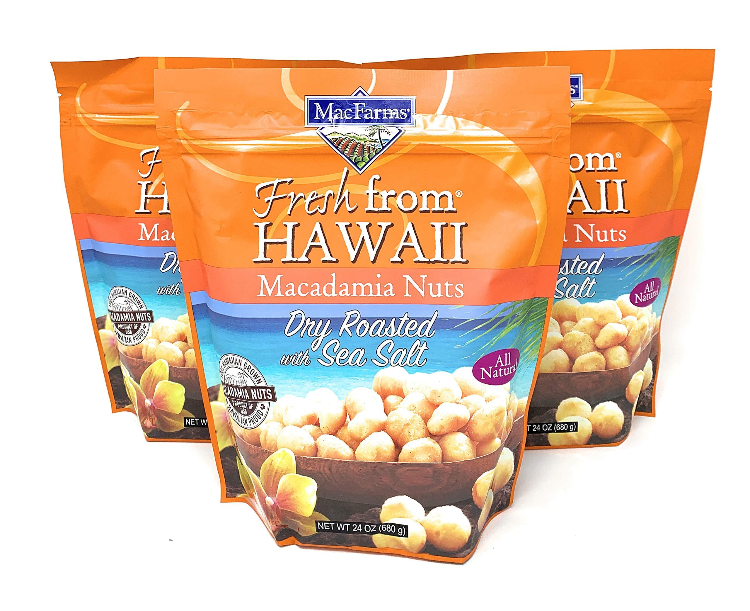 MacFarms of Hawaii Macadamia Nuts Dry Roasted with Sea Salt, 24 oz (3 Packs)