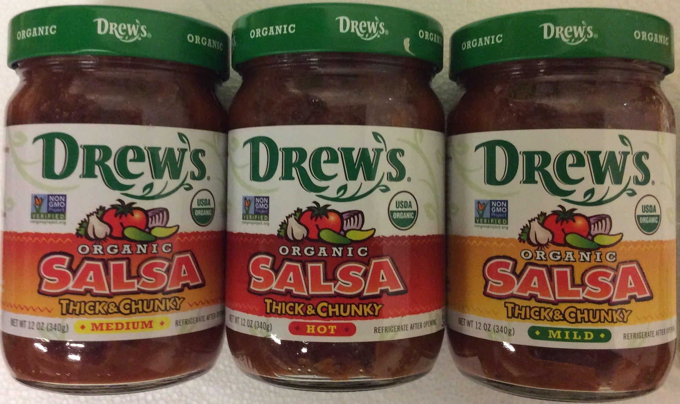 Drew's Organic Thick & Chunky Salsa Variety Pack- Hot, Medium & Mild 12 oz (pack of 3) by Drews All Natur