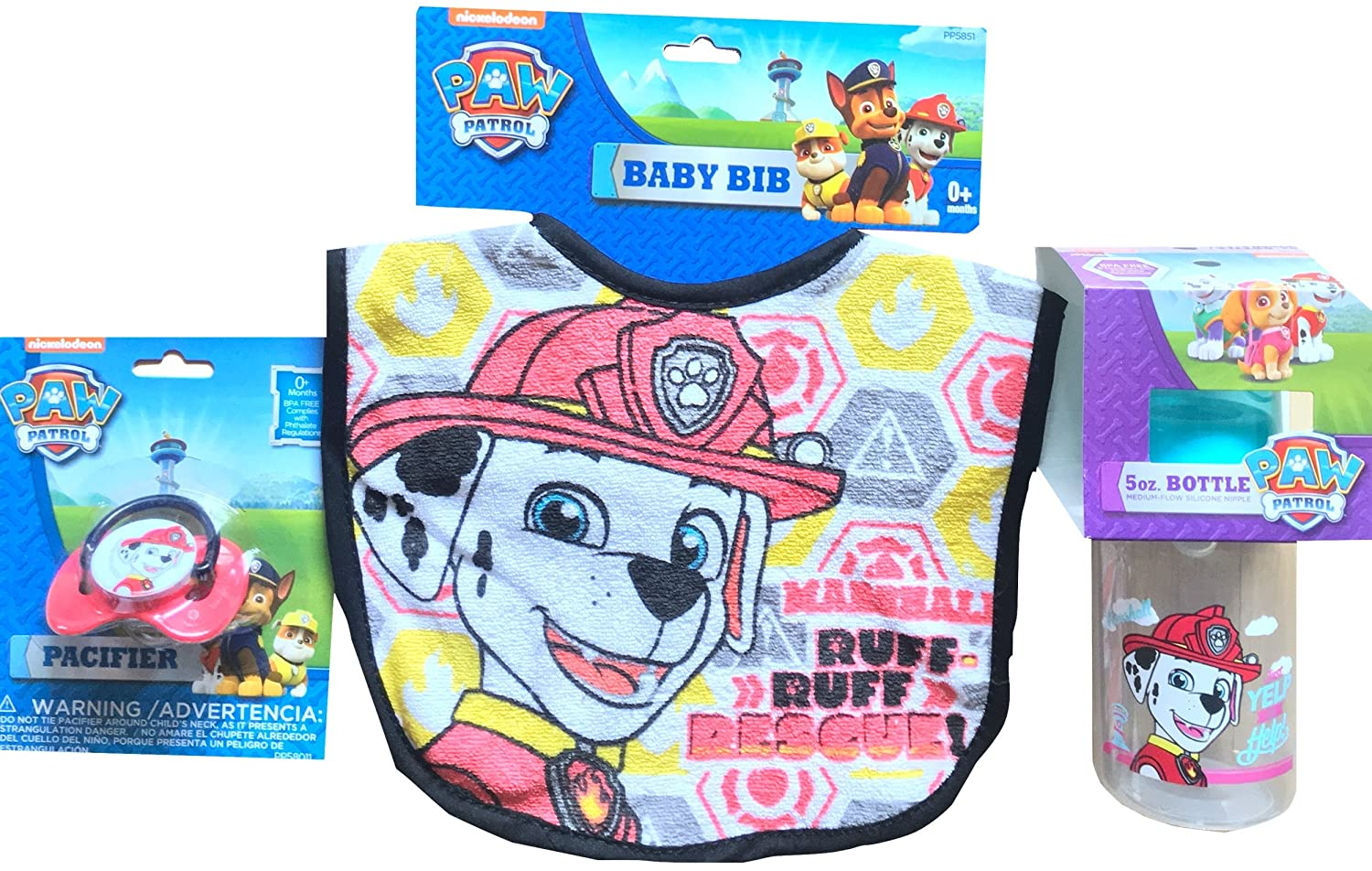 Amazon.com : Paw Patrol Baby Feeding Bib Kit With Pacifier & 5 Oz ...
