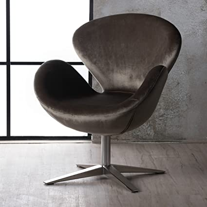 Manhatten New Velvet Modern Swivel Chair (Grey)