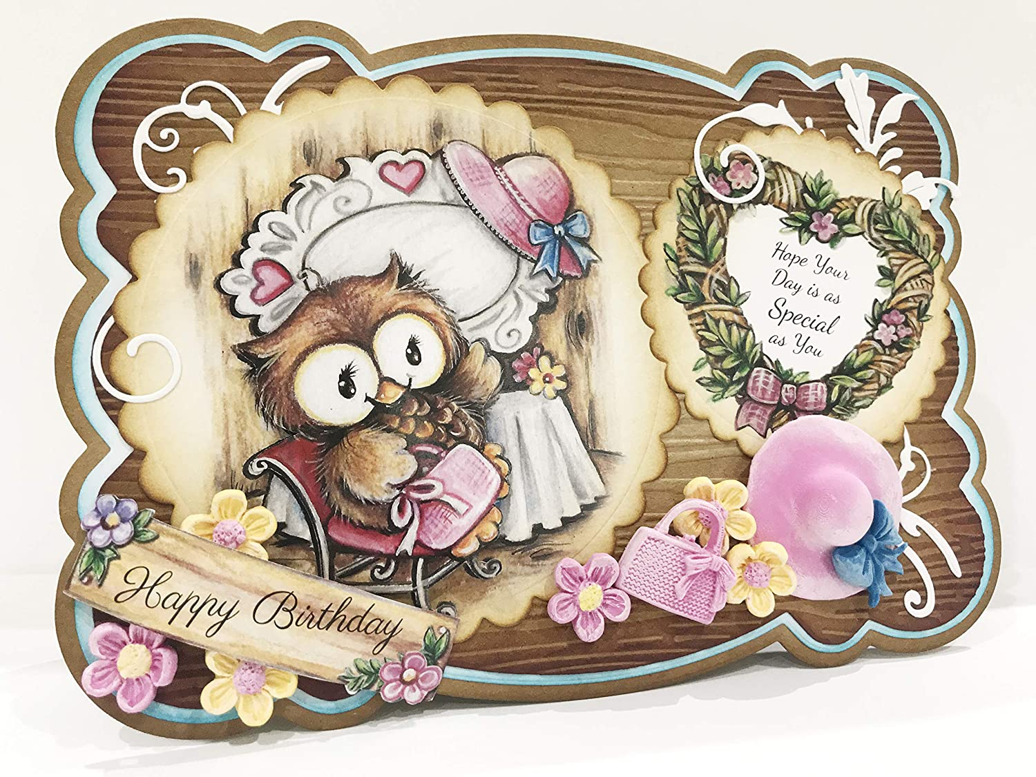 Owls Paper Craft Pads Works with Dies by Teresa Goodridge Card Making Kit Makes 80 Card Toppers