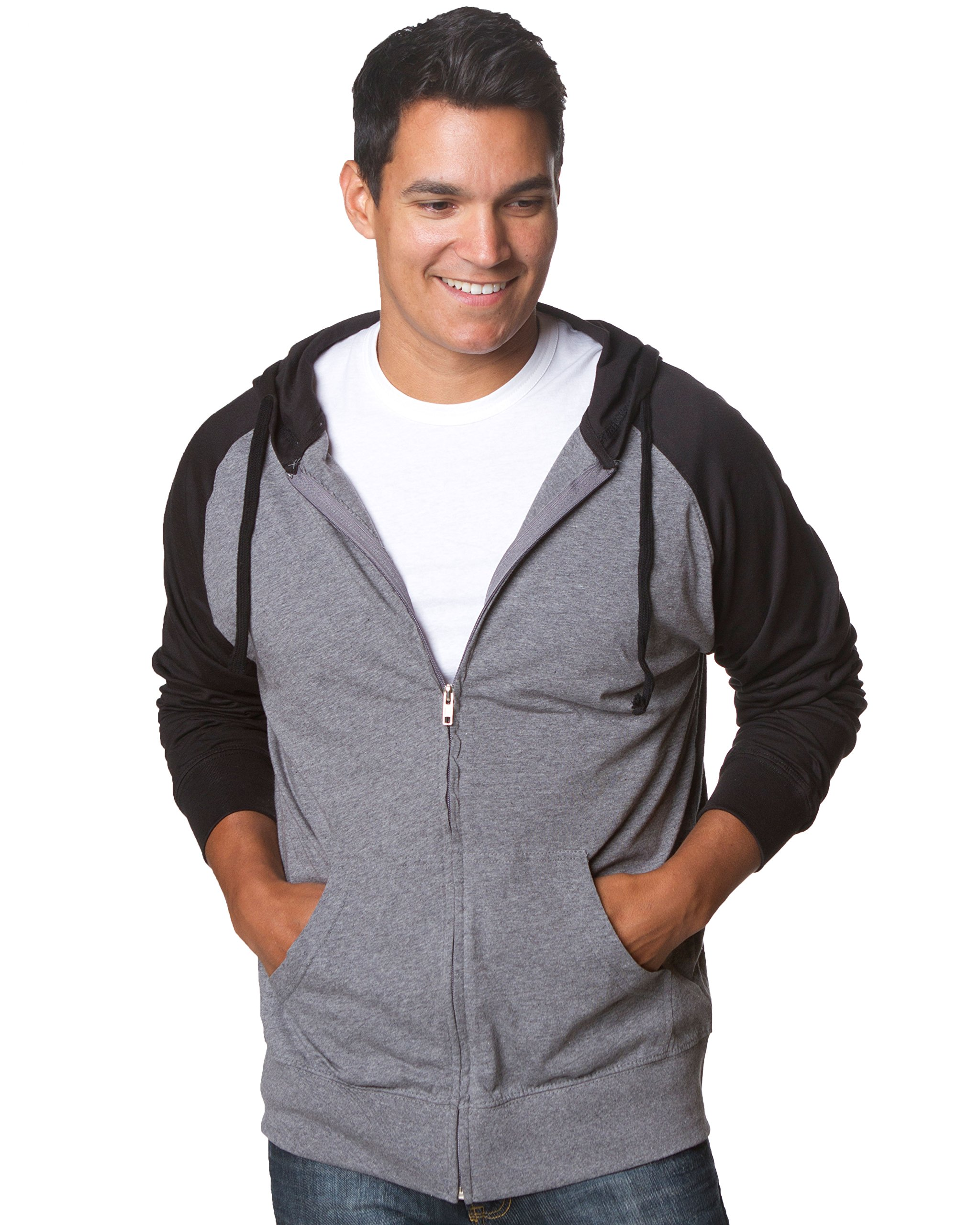 Extra Small Grey and Black Longsleeve Lightweight Hoodie Jersey T Shirt Material by Global Blank