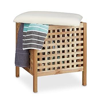 acheter populaire f9afc 0e098 Relaxdays Tabouret de salle de bain en bois de noyer massif compartiment  linge coffre coussin assise corbeille 52 litres HxlxP: 52 x 49 x 49 cm, ...