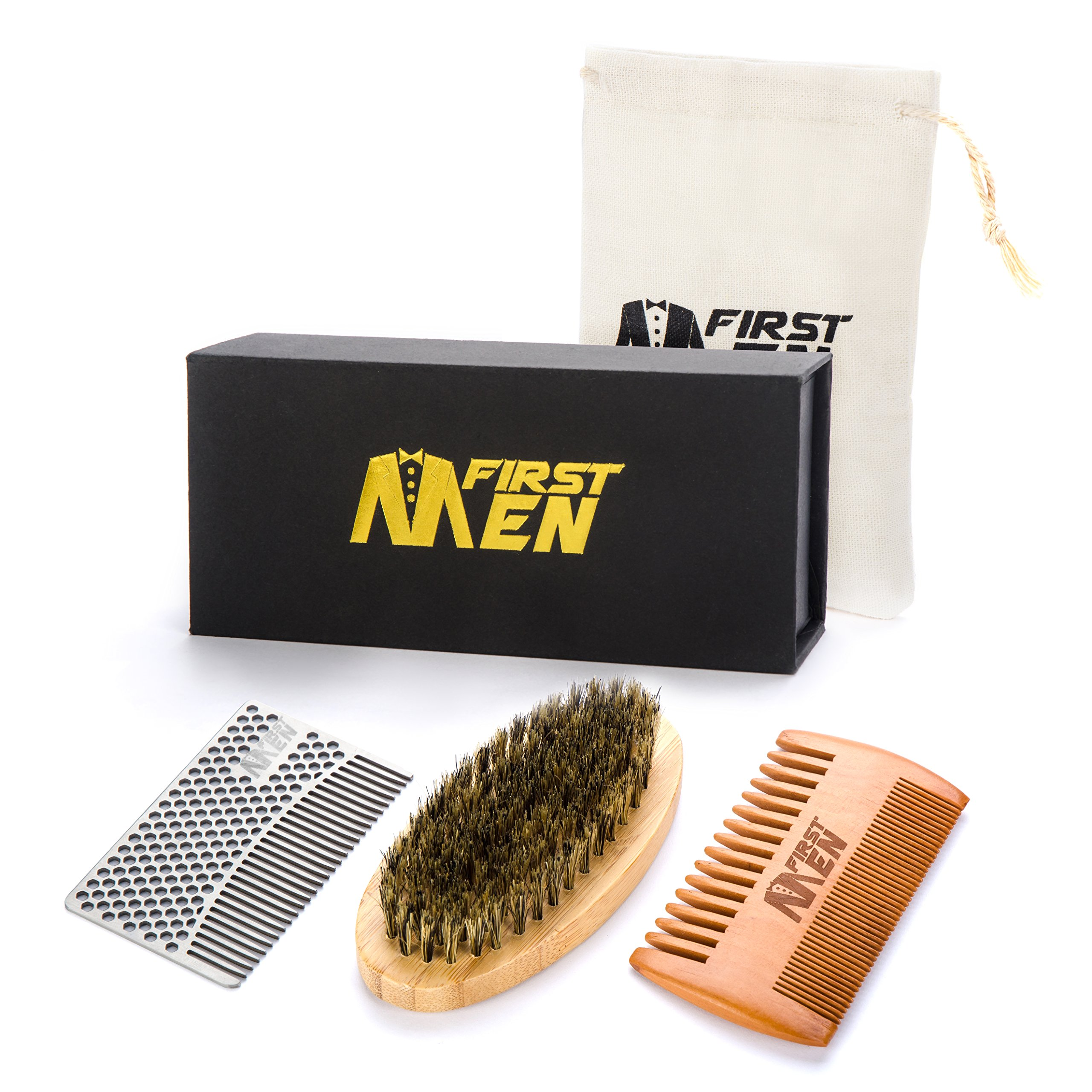 Beard Brush And Comb Set By FirstMen: Bamboo And Boar Bristle Detangler And Pear Wood Comb – Complete Grooming Kit For Men – Comes In A Protective Cotton Bag – FREE Stainless Steel Wallet Comb