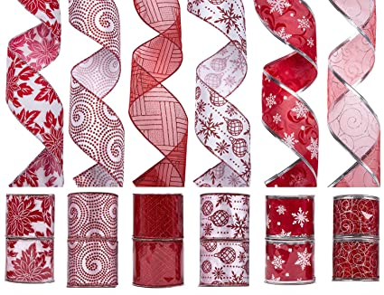 ipegtop wired christmas ribbon assorted shimmer organza glitter gift wrapping fabric ribbons diy craft party - Christmas Ribbon Decorations