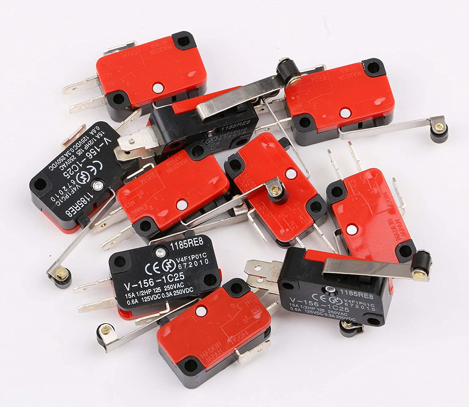 Micro Limit Switches Sdootauto 10 Pcs Momentary Miniature Limit Switches 15A V-156-1C25 2 Pins Long Hinge Roller Lever Plunger Snap Action SPDT NO//NC