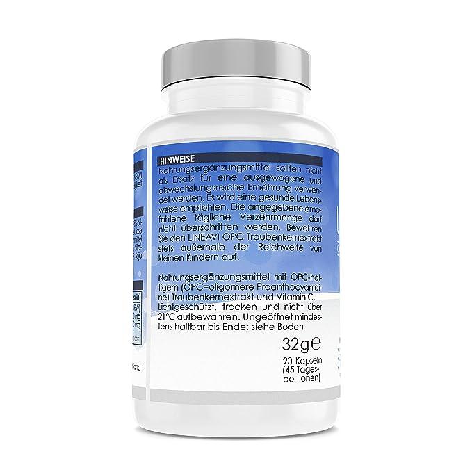 LINEAVI extracto de Semillas de UVA con proantocianidina | con una Alta concentración de Vitamina C Natural | Fabricado en Alemania | 90 cápsulas ...