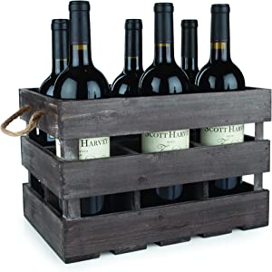 "Twine Farm House Decor Wine Holder Rustic Farmhouse Wooden 6 Bottle Crate, 8.75"", Dark wood"