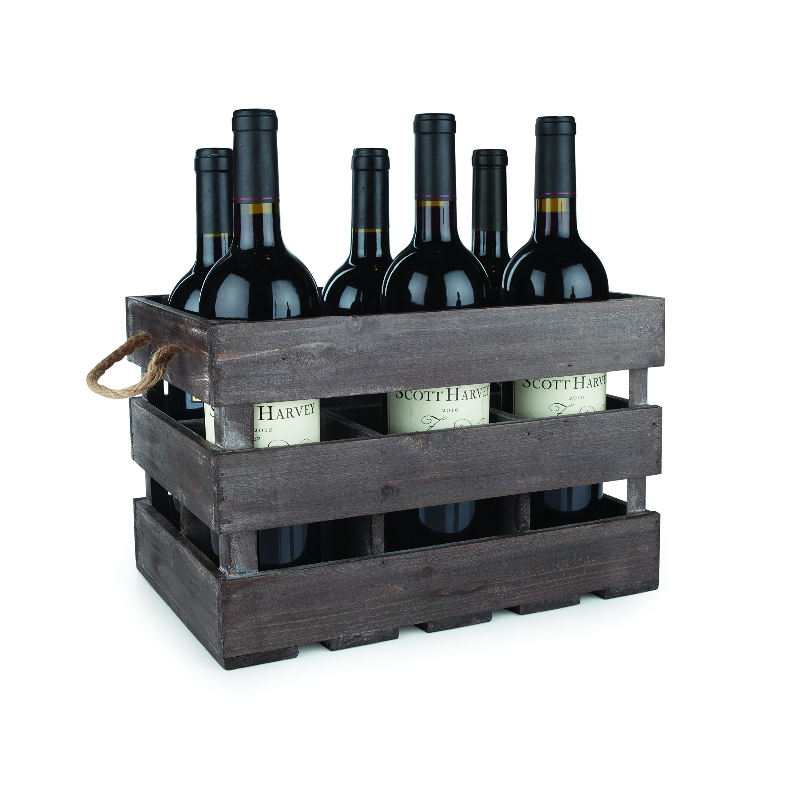 Twine 4281 Rustic Farmhouse Wooden 6 Bottle Crate, 8.75'' Multi Color