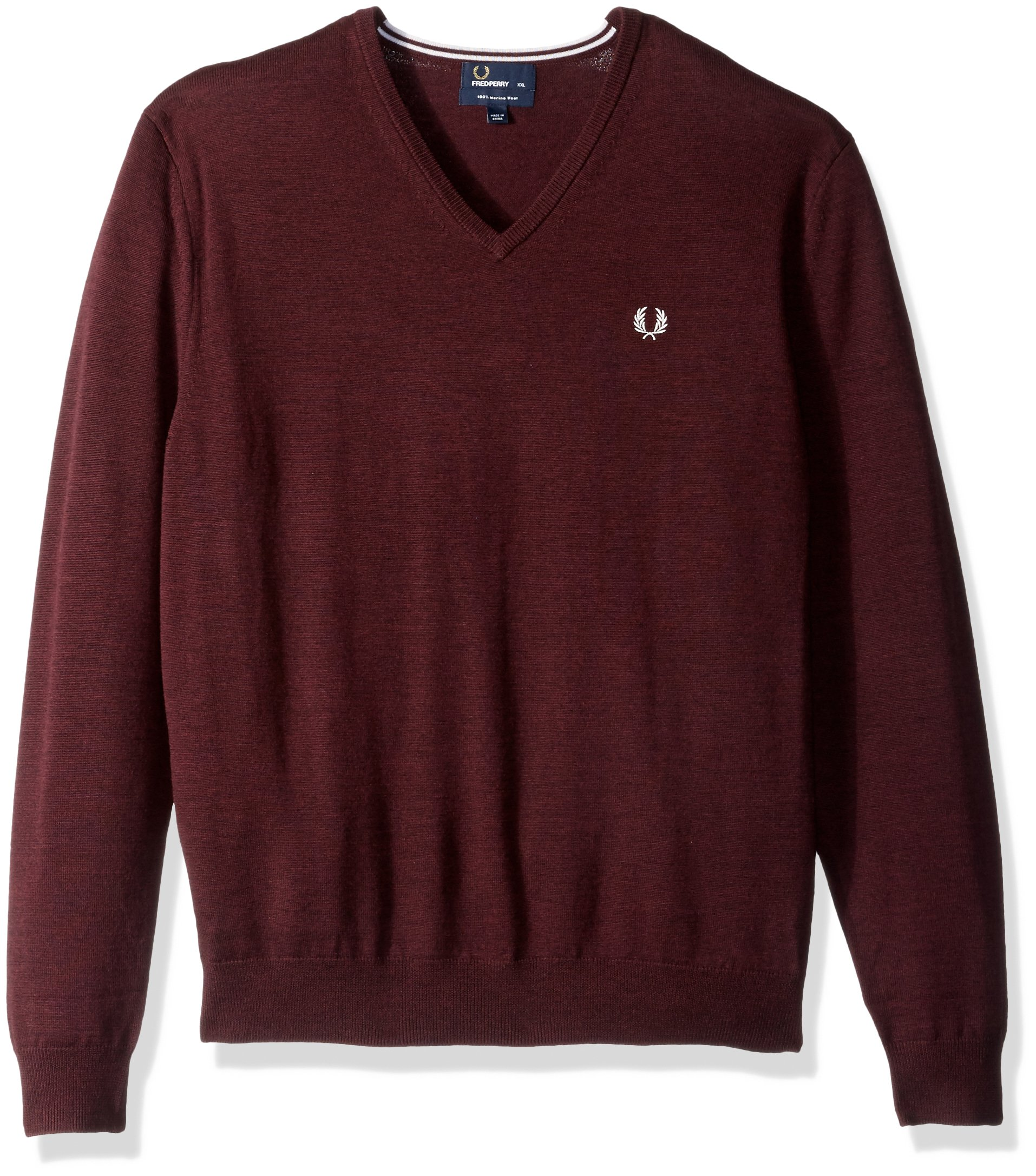 Fred Perry Men's Classic Tipped V Neck Sweater, Mahogany Marl, XX-Large