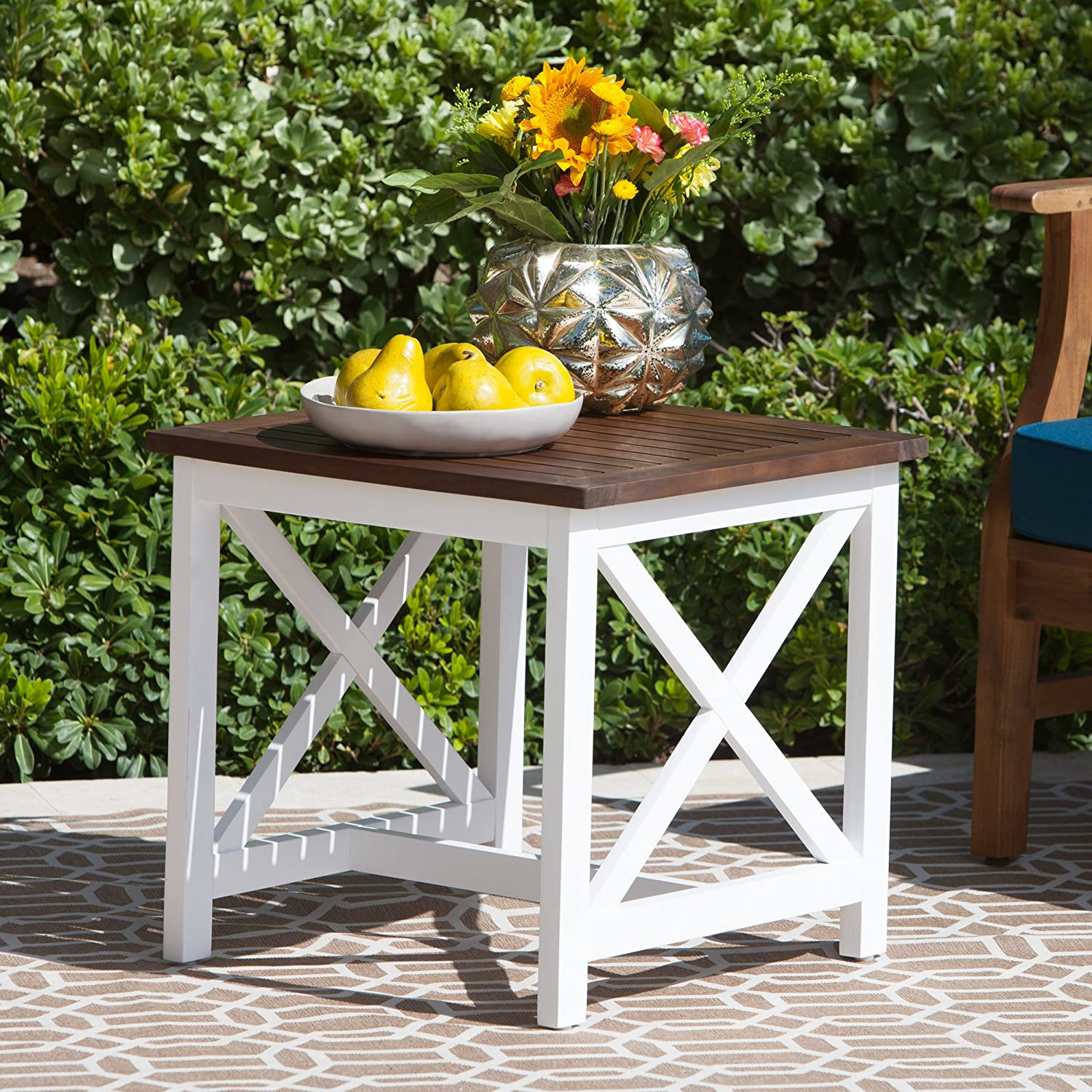 Christopher Knight Home Cassandra Outdoor Farmhouse Cottage Dark Oak Acacia Wood End Table with White Frame, Brown