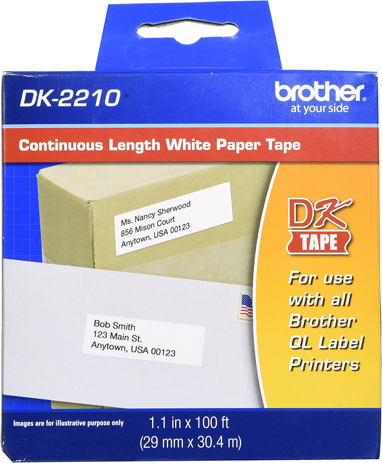 "Brother Genuine DK-2210 Continuous Length Black on White Paper Tape for Brother QL Label Printers, 1.1"" x 100' (29mm x 30.4M), 1 Roll per Box, DK2210 : Office Products"