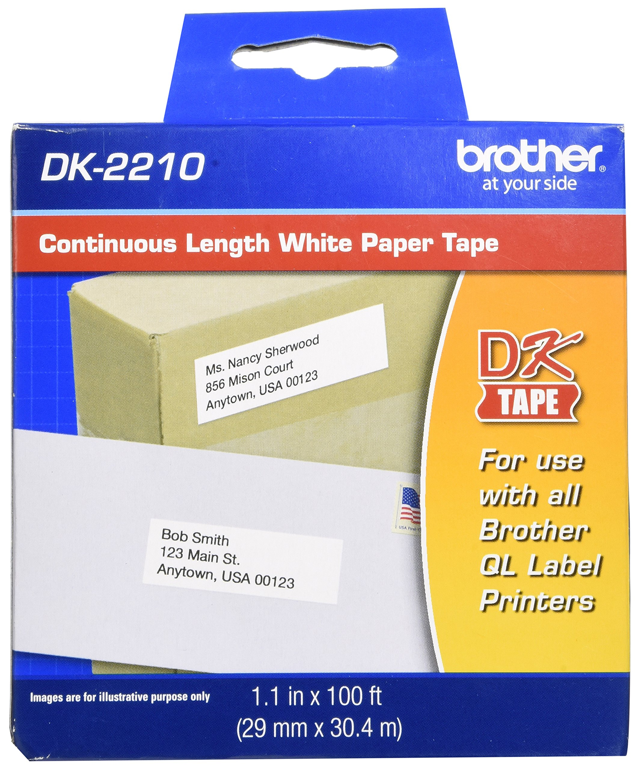 Brother DK-2210 Continuous Length Paper Label Roll (1-1/7'' Wide) - Retail Packaging