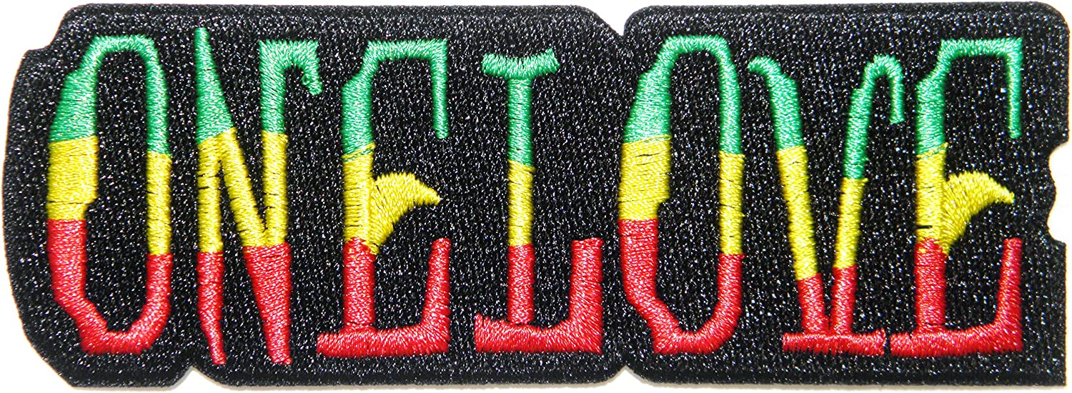 Rasta colours; SEW-ON ONE LOVE HEART PATCH IRON-ON **BN** Bob Marley
