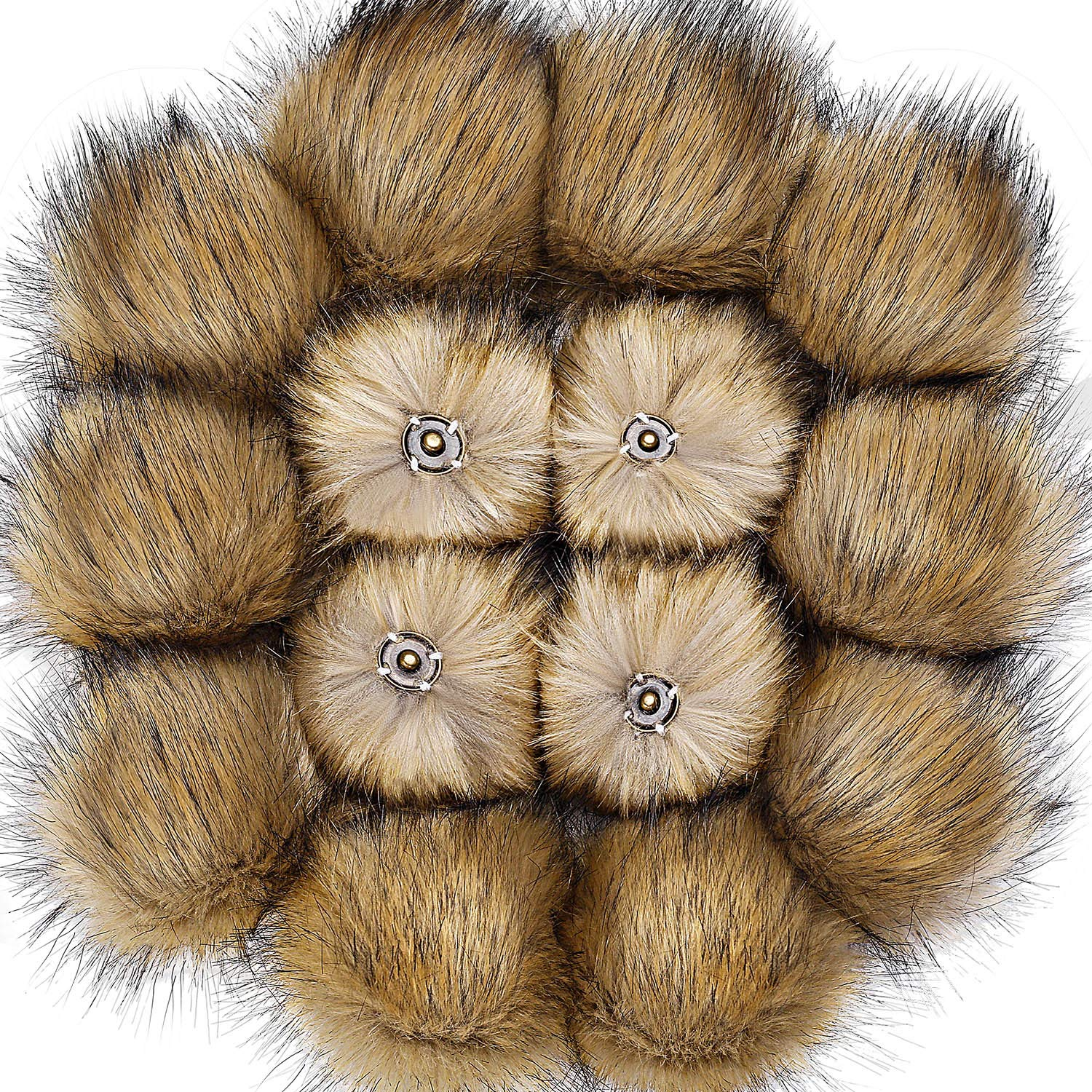 Bememo 14 Pieces Faux Fox Fur Pom Pom Ball Hat Faux Fur Pompom with Removable Press Button for Knitting Hat Accessories (Natural)