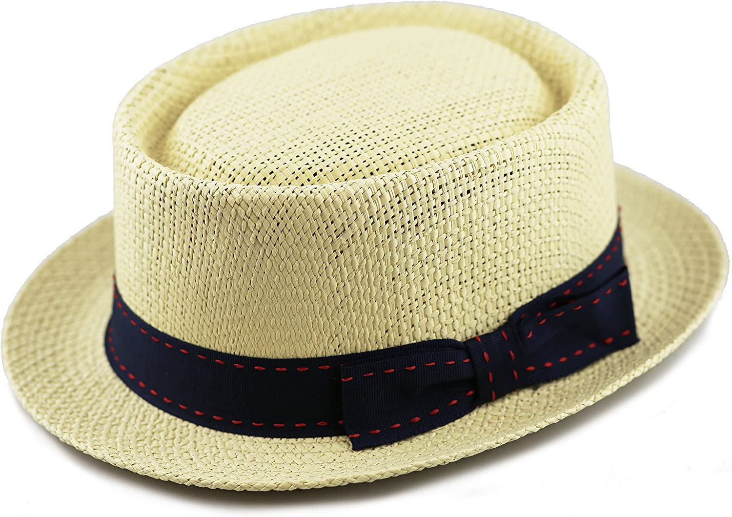 The Hat Depot Unisex Summer Paper Straw Short Brim Porkpie Stitched Grosgrain Band
