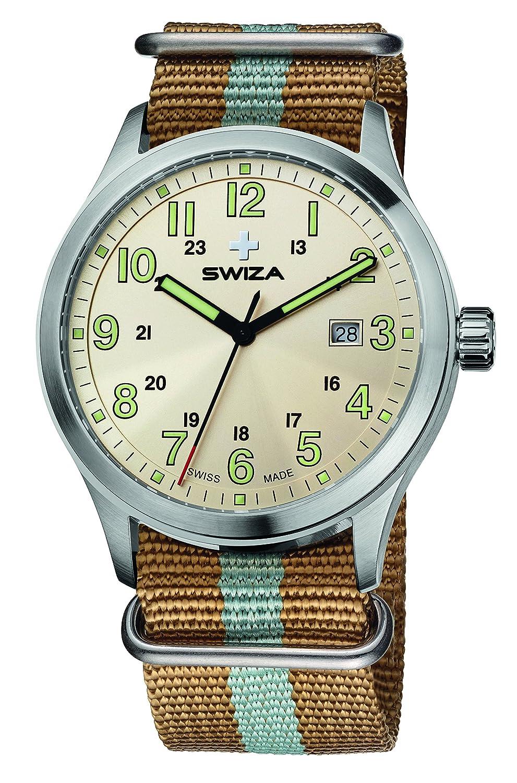 SWIZA Kretos Gent Quarzlaufwerk - Edelstahl-GehÄuse - 24h-Anzeige - Zweifarben-Nylonarmband Luxus Uhr Made in Swiss