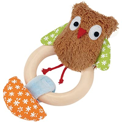 Kathe Kruse - Alba The Owl Plush Rattle with Wooden Teething Ring : Baby Plush Toys : Baby