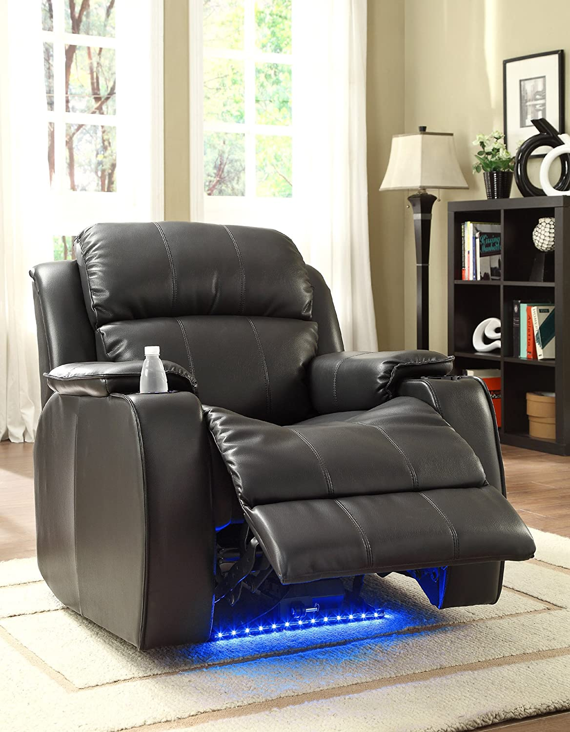 Amazon.com Homelegance 9745BLK-1 Jimmy Collection Upholstered Power Reclining Massage Chair Black Bonded Leather Kitchen u0026 Dining & Amazon.com: Homelegance 9745BLK-1 Jimmy Collection Upholstered ... islam-shia.org
