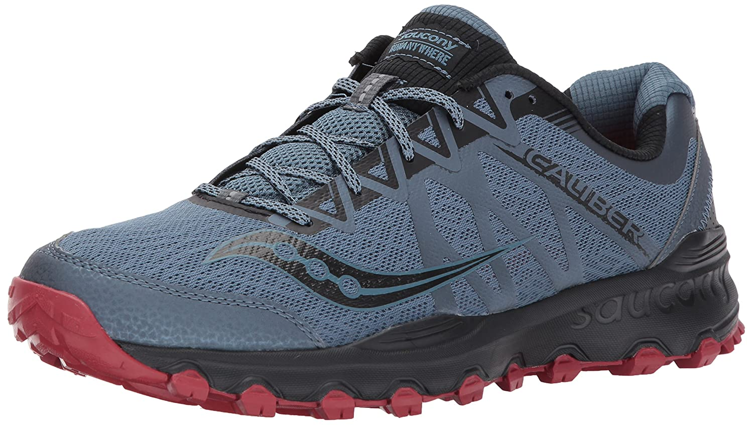 Saucony Men's Grid Caliber TR Trail Runner B01MY0VPBW 8.5 D(M) US|Grey Red