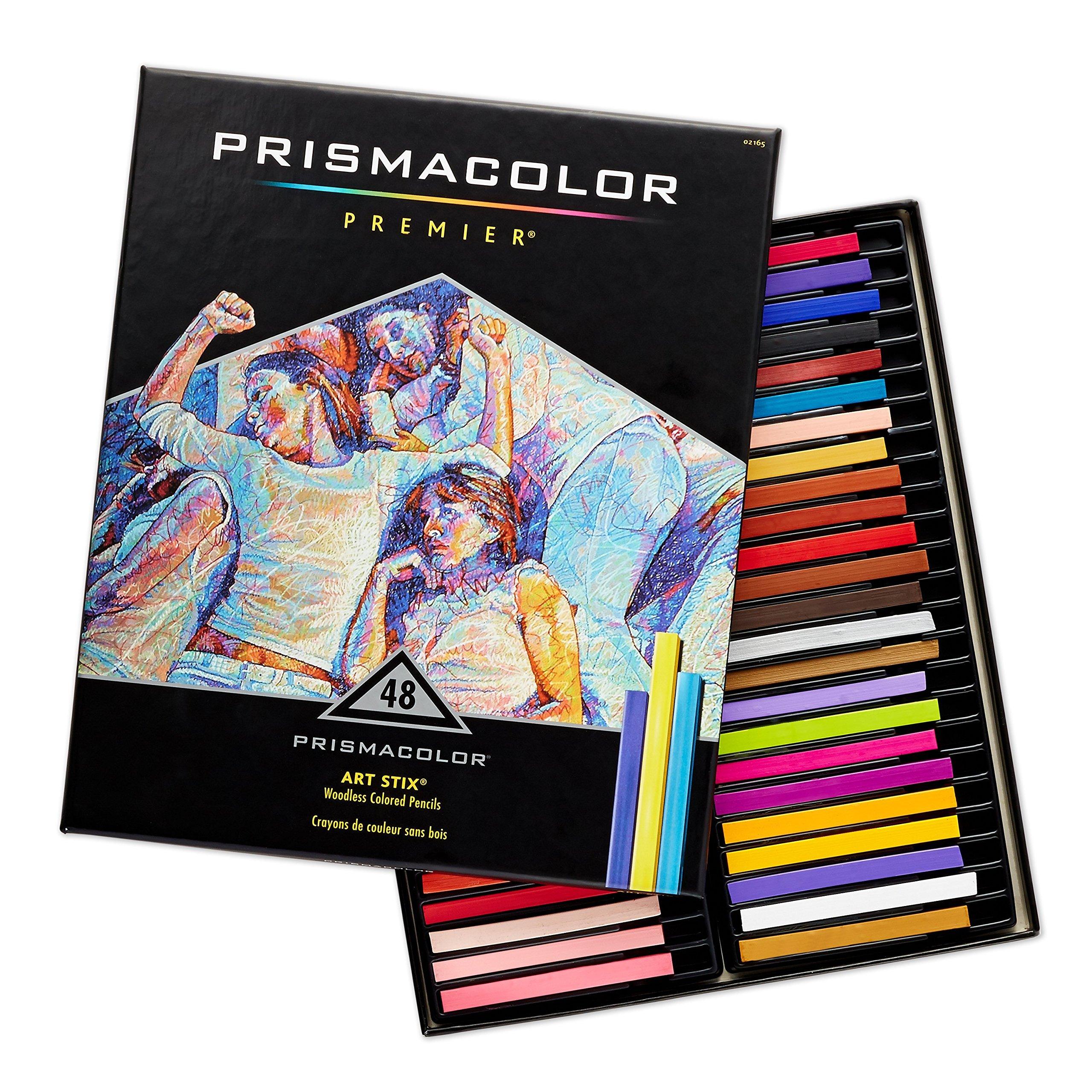 Prismacolor 2165 Premier Art Stix Woodless Colored Pencils, 48-Count by PRISMACOLOR