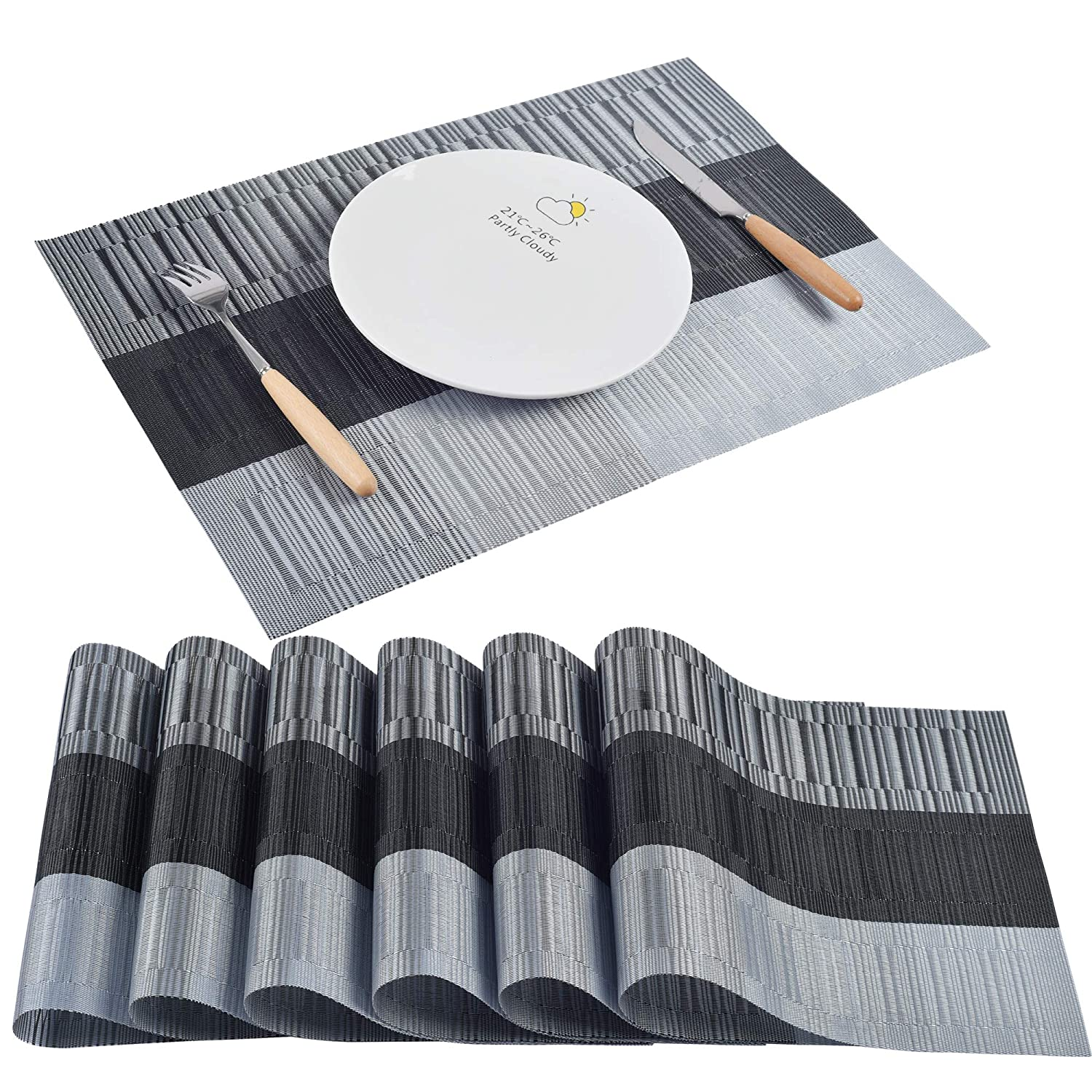 Set de Table Pour Table de Cuisine Lot de 6 TissÉ en PVC Set de Table Noir 45cm*30cm