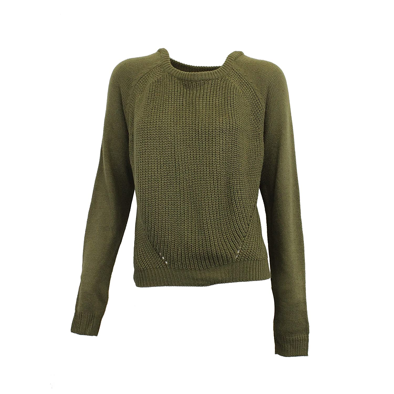 Pretty Rebellious Juniors Cropped Raglan Sleeve Sweater Olive