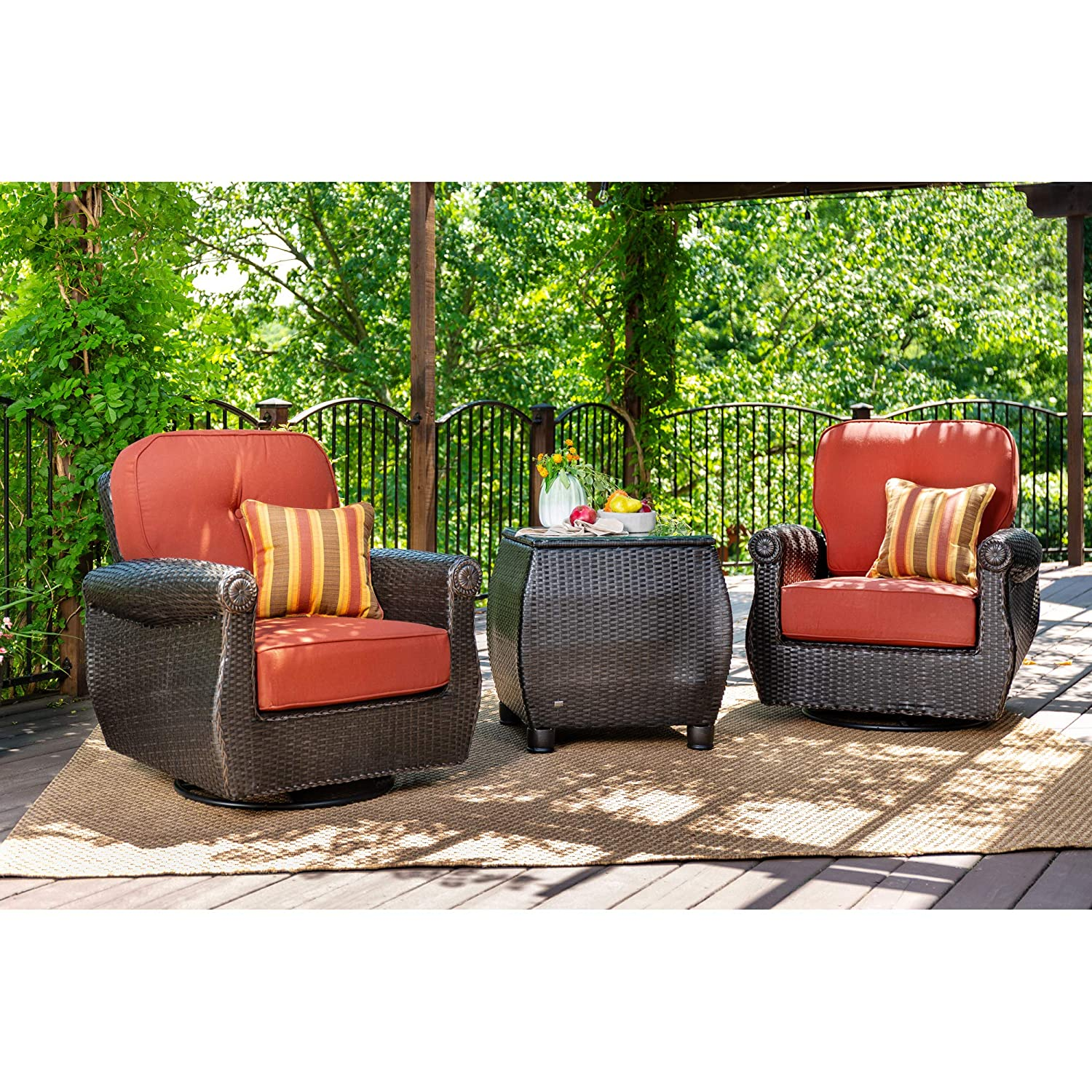 La-Z-Boy Outdoor Breckenridge 3 Piece Resin Wicker Patio Furniture Set Brick Red 2 Swivel Rockers and Side Table with All Weather Sunbrella Cushions