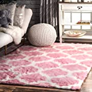 nuLOOM Faux Sheepskin Solid Soft and Plush Cloud Trellis Kids Shag Area Rugs, 4' x 6', Pink