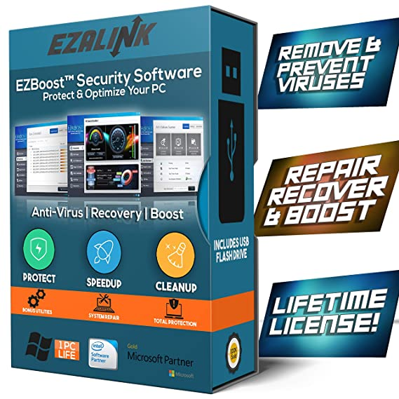 Total Security Antivirus Software for Windows 2019 - Virus Protection,  Removal, Scanner with PC Optimizer Tune Up Tools - USB by EzaLink (Pro  Lifetime