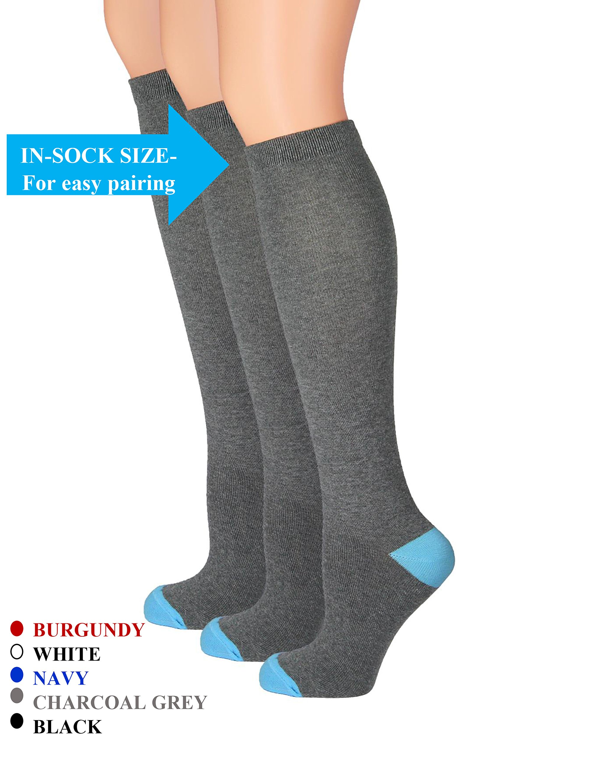 The Top Fit Womens Knee High Cotton Compression Solid Dress Socks 9-11, Charcoal Gray- 3 Pk
