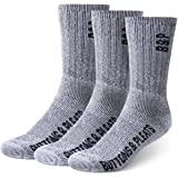 Buttons & Pleats Premium Merino Wool Hiking Socks Outdoor Trail Crew Socks 3 Pairs