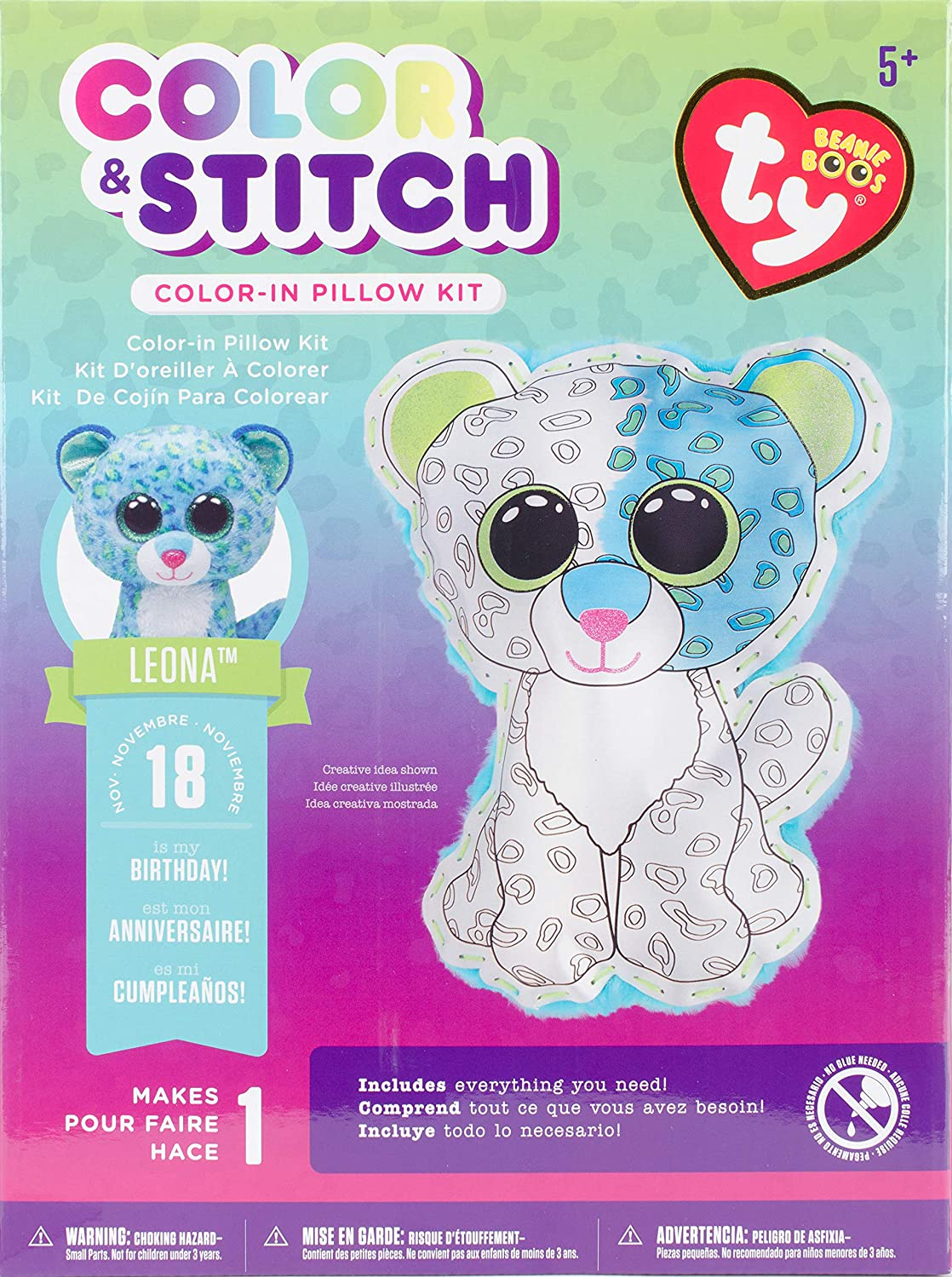Darice TY Beanie Boo Leona Color and Stitch Pillow Kit