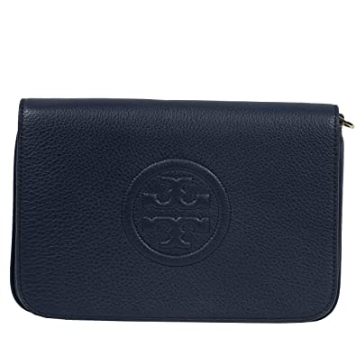 b86df0136 Tory Burch Bombe Convertible Clutch Leather TB Logo (Navy): Handbags:  Amazon.com
