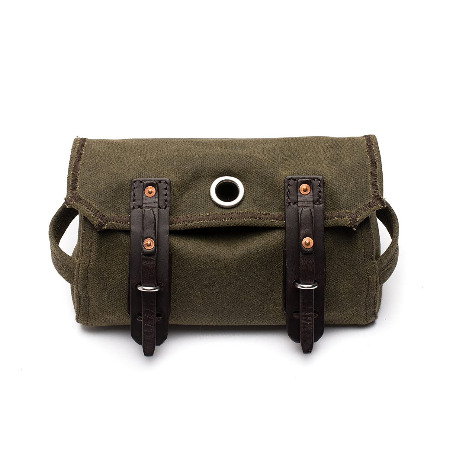 Saddleback Leather Canvas Dopp Kit Hanging Canvas and Leather Mens Toiletry Bag 100 Year Warranty 03-10-0021-MD-MG-C