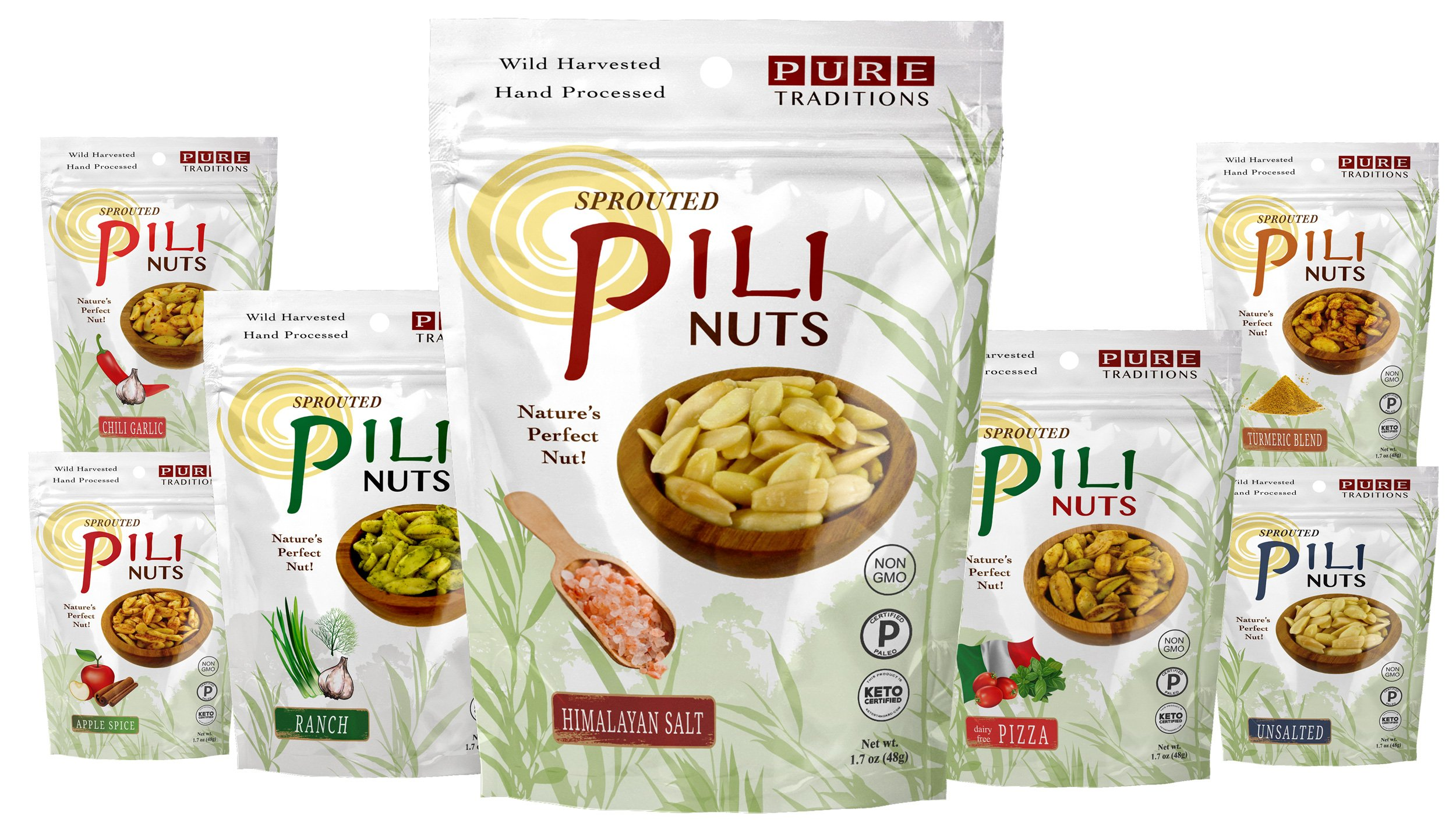 Sprouted Pili Nuts, 7 Flavor Variety Pack, 1.7 oz each