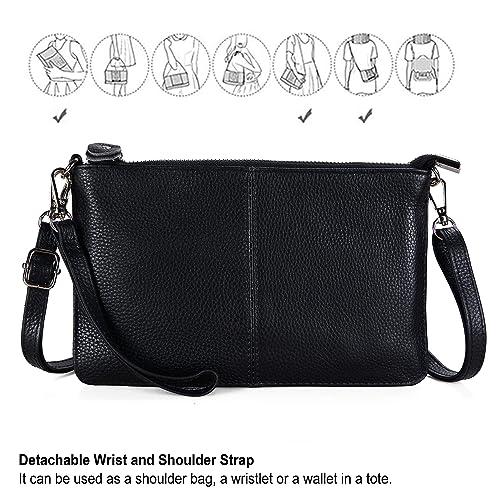 f8b88c5e0a37 Befen Women s Genuine Smartphone Leather Wristlet Crossbody Wallet Purses  and Handbags Mini Crossbody Bag Clutch Wallet with Crossbody Strap - Black   ...