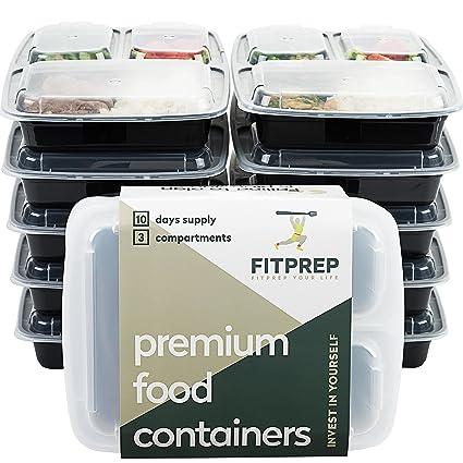 Original de FITPREP® [Pack de 10] Contenedor de alimentos con 3 compartimentos para