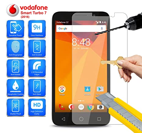 MobiBax Vodafone Smart Turbo 7 Tempered Glass Screen Protector Anti Scratch Hd Shatter Proof 9H Hardness