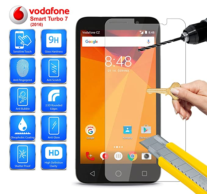 Vodafone Inteligente Turbo 7 / VFD 500 - Protector de pantalla de Cristal Templado Anti Rasguños
