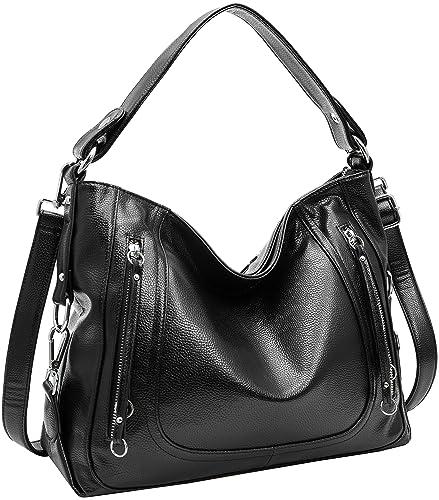 2327c4a4c1c1 Amazon.com: Kenoor PU Leather Women Shoulder Handbags Large Capacity ...