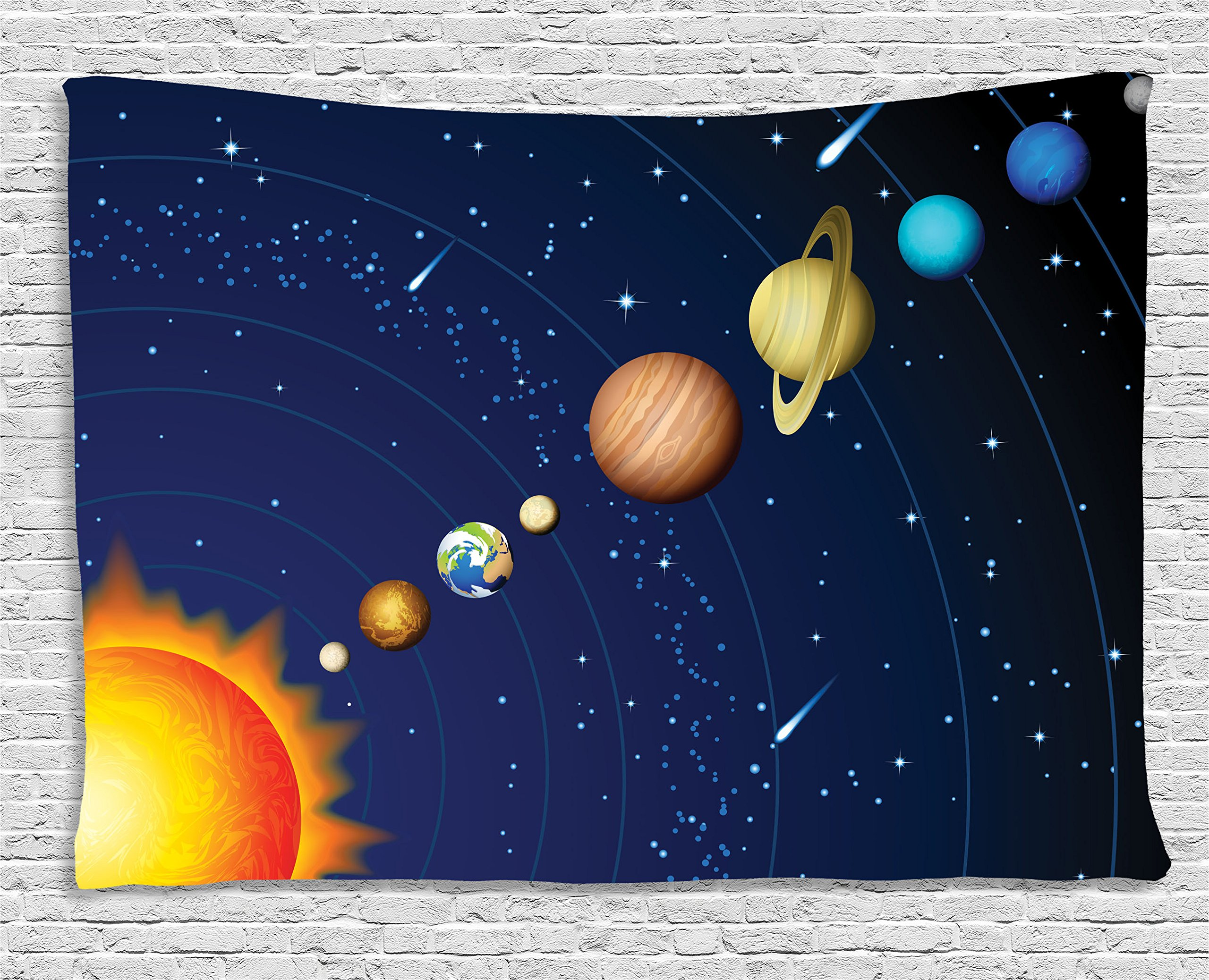 Ambesonne Space Tapestry Decor, Solar System with Sun Uranus Venus Jupiter Mars Pluto Saturn Neptune Image, Wall Hanging for Bedroom Living Room Dorm, 60 W X 40 L inches, Dark Blue Orange