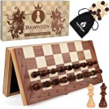 Magnetic Wooden Chess Checkers Set for Kids and Adults - 12 Staunton Chess Set - Travel Portable Folding Chess Board…