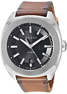 Gucci Swiss Quartz Stainless Steel and Leather Dress Brown Mens Watch(Model: YA142207)